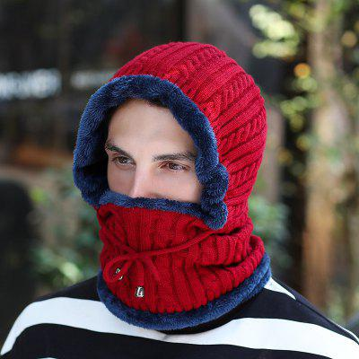 T0175 Men Stripe Keep Warm Hat Rider Ear + Mouth Protective Knit Headgear Mask