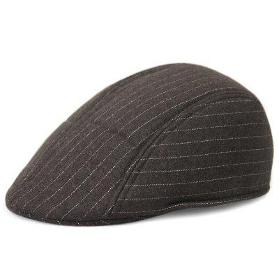 B0080 Men's Keep Warm Woolen Berets Simple Striped Hat Decoration