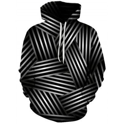 Mannen Geometrische labyrintpatroon capuchon 3D Digital Printing Hooded Sweater