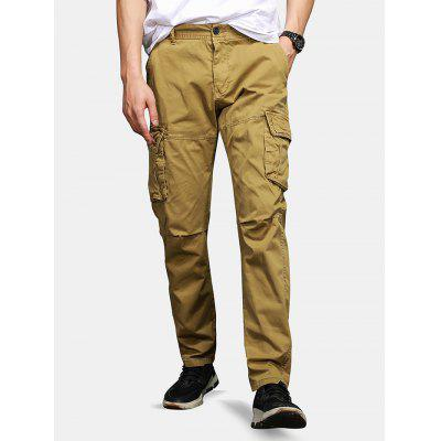 Men's Casual Solid Color Pants Washed Cotton Tooling Bottoms