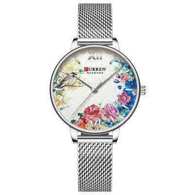 Curren 9059 Women Flowers Decor Small Dial Quartz Watch Waterproof Stainless Steel Band