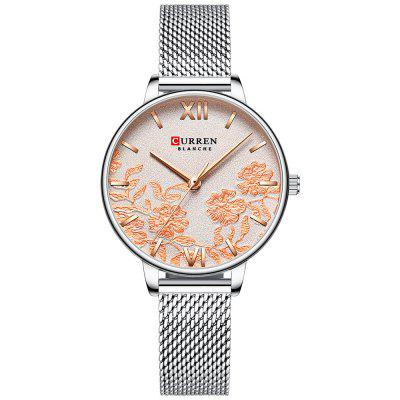 CURREN 9065 Women's Round Flowers Small Dial Watch Waterproof Stainless Steel Band