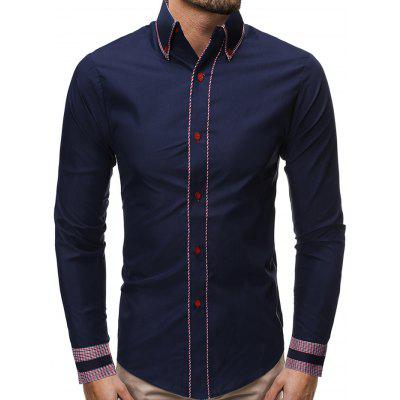 Men Simple Business Striped Shirt Long-sleeved Casual Slim T-shirt