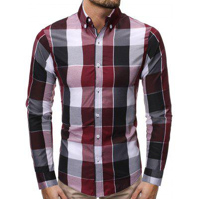 Men's Fashion Contrast Color Plaid Shirt Long-sleeved T-shirt Slim