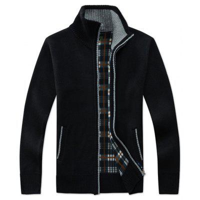 Homens gola da camisola Zip Casual Knit Cardigan Checkered da manta Inner
