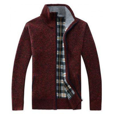 gearbest.com - Men Stand Collar Zip Sweater Casual Knit Cardigan Checkered Plaid Inner
