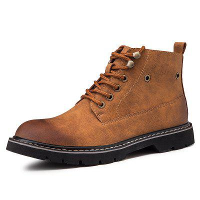 AILADUN Men's High-top Casual Slip Resistant Boots Cowskin Uppers Lace Up Shoes