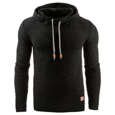 Men's Autumn Winter Knit Hoodie Solid Color Sweater Casual Long-sleeved Sweatshirt