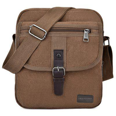 yameng1964 Mannen Canvas Single Schouder Crossbody Bag Buckle + rits ontwerp Solid Color Pack