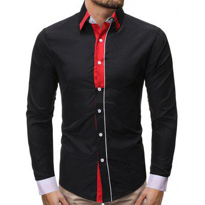 Men's Fashion Contrast Color Stitching Shirt Turn-down Collar Long-sleeved Slim T-shirt