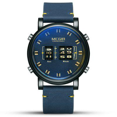 Megir SB2019092417 Men Creativity No Number Dial Quartz Watch Wheel + Genuine Leather Band Business Watches