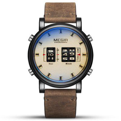Megir SB2019092417 Mannen Creativiteit Nee Aantal Dial Quartz horloge Wheel + echt leder De Band Watches