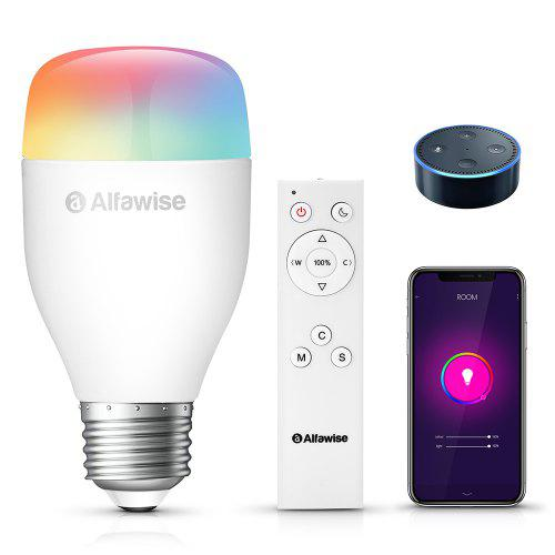 Gearbest Alfawise LE12 E27 WiFi APP / Voice / Remote Control Smart LED Bulb - White 9W 900LM 16 Million Colors Support 2700 - 6500K Works with Amazon Alexa IFTTT Google Home