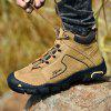 SENBAO Men Full Grain Leather Lace Up Mid-vysoké boty Durable Outdoor obuv - SANDY BROWN