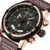 MEGIR SB2019092415 Men's Chronograph Waterproof Quartz Watch Big Dial Genuine Leather Band - SILVER