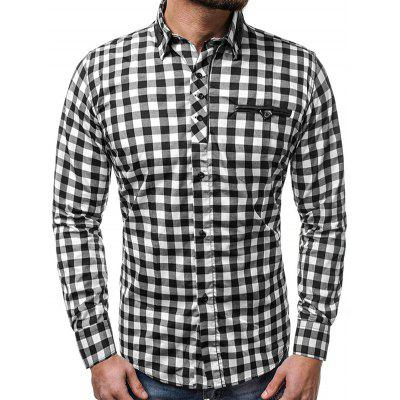 Men's Stitching Plaid Shirt Casual Long-sleeved T-shirt
