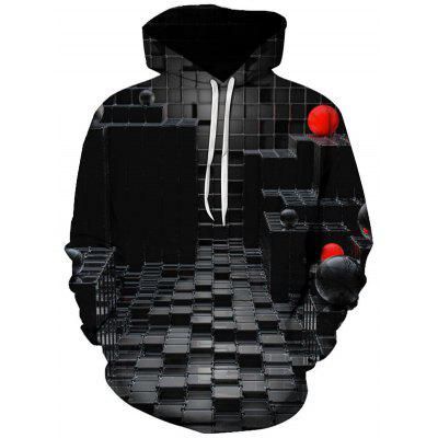 Men's Creative Personality Hoodie Stereoscopic 3D Digital Printing Jacket with Drawstring
