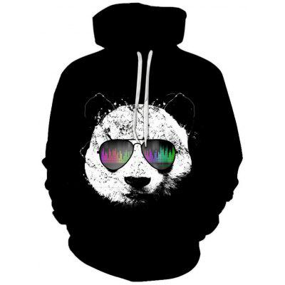Men Creative Panda Logo Hoodie Cool 3D Digital Printing Pullover Sweater