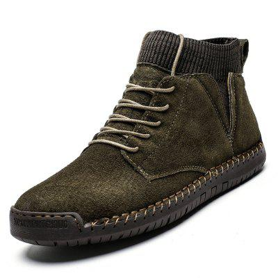 AILADUN Man Mid-high Hand-sewn Casual Shoes Solid Color Lace-up Large Size Footwear Durable