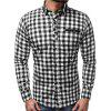 Men's Stitching Plaid Shirt Casual Long-sleeved T-shirt - RED