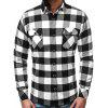 Men's Classic Check Pattern Shirt Casual Long-sleeved T-shirt with Pocket - WHITE