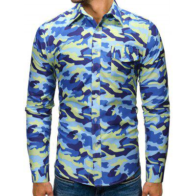 Men's Fashion Slim Camouflage Shirt Long-sleeved Printing T-shirt with Chest Pocket