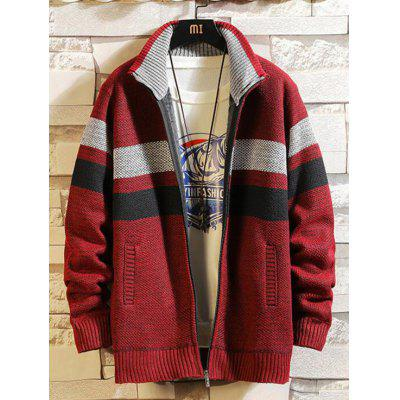 Men Stand Collar Stripe Pattern Sweater Zipper Coat with Pocket