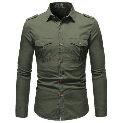 Men's Military Style Solid Color Shirt with Epaulets + Pockets Mountaineering Outdoor Wear