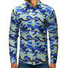 Men's Fashion Camouflage Shirt Printing Slim Turn-down Collar Long-sleeved T-shirt Button-down Top - SKY BLUE