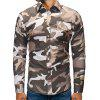 Men's Fashion Slim Camouflage Shirt Long-sleeved Printing T-shirt with Chest Pocket - THREE SAND CAMOUFLAGE