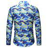 Men's Fashion Slim Camouflage Shirt Long-sleeved Printing T-shirt with Chest Pocket - NAVY CAMOUFLAGE