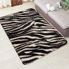 Zebra Stripes Pattern Cashmere-like Absorbent Non-slip Carpet Home Mat - BLACK