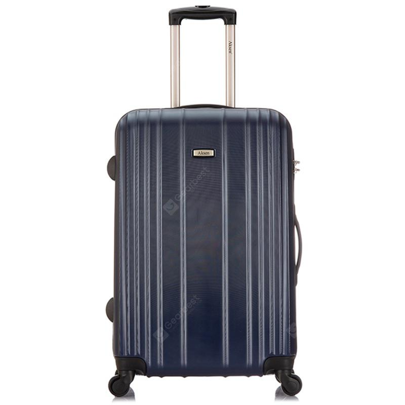 """AKSEN 24 inch Fashion Mute Trolley Travel Hardside Luggage Password Lock - Deep Blue"""
