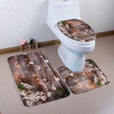 Cherry Board Pattern Coral Velvet Toilet Seat Cover Mat 3pcs / Set