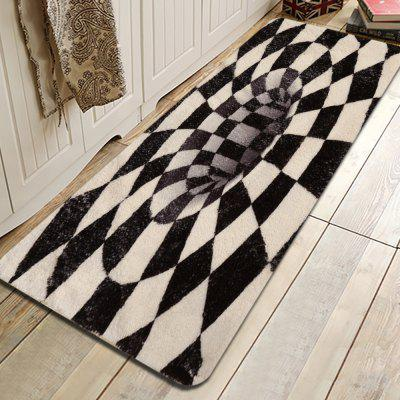 Black and White Graphic Pattern Cashmere-like Water Absorption Non-slip Carpet Mat