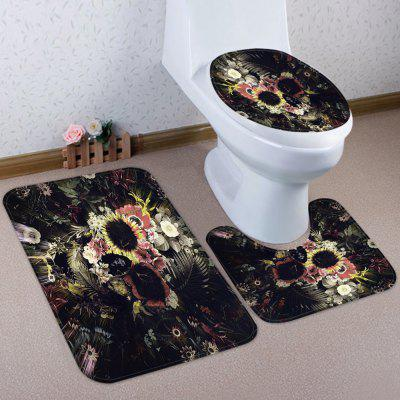 Halloween Skeleton Pattern Coral Velvet Toilet Seat Cover Mat 3pcs / Set
