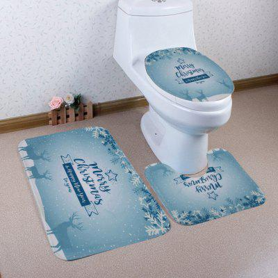 Christmas Text Deer Printed  Pattern Coral Velvet Toilet Seat Cover Mat 3pcs / Set