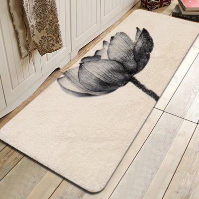 Ink Lotus Pattern Cashmere-like Water-absorbing Non-slip Carpet Mat