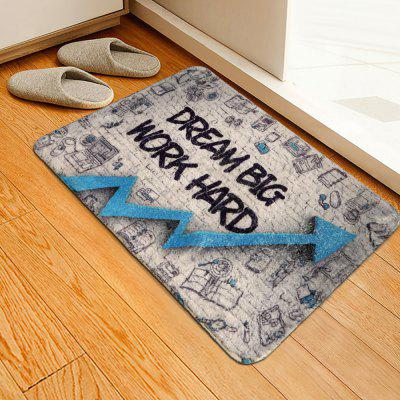 Letters Arrow Pattern Cashmere-like Water-absorbing Non-slip Carpet Mat