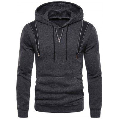 Men Coaserea confortabil Hoodie fermoar decorare Top