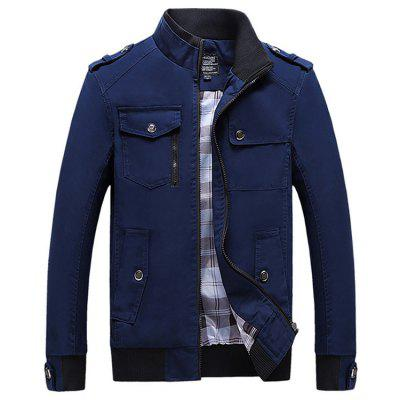 Men's Autumn Winter Cotton Jacket Fashion Multi-pocket Coat with Plaid Lining