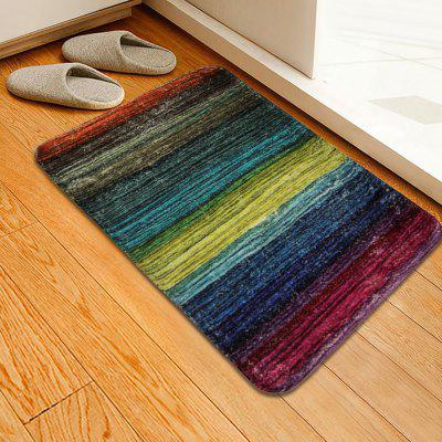 Colorful Wood Plank Pattern Cashmere-like Water-absorbing Non-slip Carpet Mat