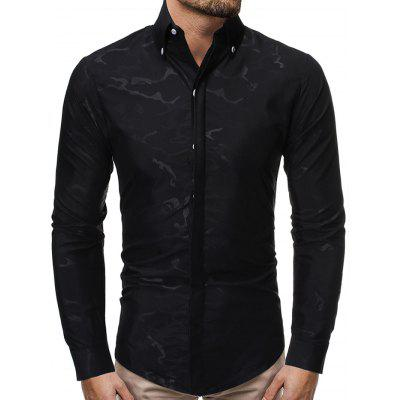 Men's Casual Long-sleeved Shirt Printing Turn-down Collar Slim T-shirt Hidden Button Design