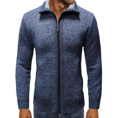 Ligue-down Collar Moda Masculina camisola cor sólida Zipper Cardigan