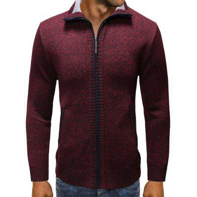 Men's Turn-down Collar Fashion Sweater Solid Color Zipper Cardigan