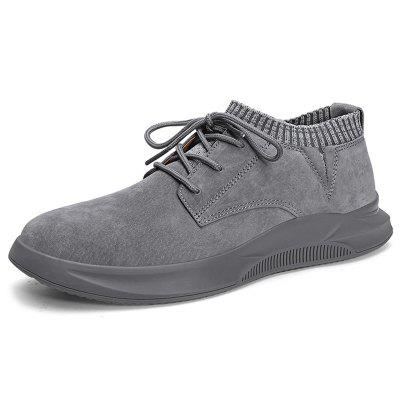 AILADUN Men Mid-high Solid Color Casual Shoes Lace-up Easy-match Footwear