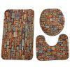 Stone Wall Pattern Coral Velvet Toilet Seat Cover Mat 3pcs / Set - MULTI