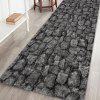 Dark Gray Brick Wall Painting Pattern Cashmere-like Water-absorbing Non-slip Carpet Mat - MULTI