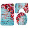 Flowers Board Pattern Coral Velvet Toilet Seat Cover Mat 3pcs / Set - MULTI