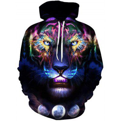 Men Domineering Tiger Pattern Hoodie 3D Digital Animal Print Top Casual Hooded Pullovers
